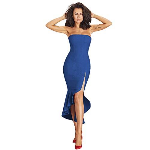 DEELIN Womens Holiday Sexy ärmelloses unregelmäßiges, figurbetontes Kleid Beach Party Langes Kleid Bankett Rock Schlauchoberseite