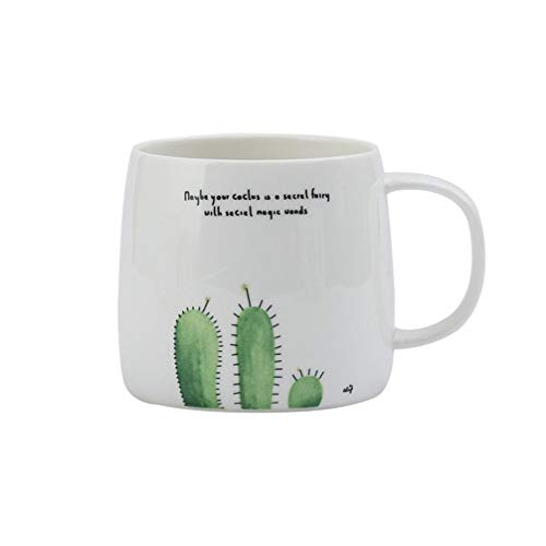 WXJMP Kreative Schildkröte Kaktus Frische Pflanze Muster Becher Büro Einfache Milch Kaffeetasse Geschenk Paar Tasse 12,5 * 8,5 * 8,7 cm, 4