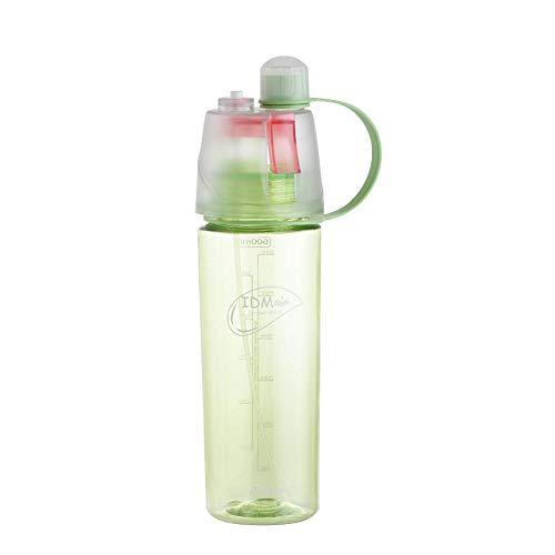 Ykhsw Kreative sprühbecher benutzerdefinierte wasserflasche sportflasche Tasse Kinder tragbare feuchtigkeitsspendende schönheit Kunststoff kühlbecher 600 ML, grün 600 ML