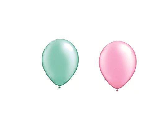 DeCoArt... Set Preis 50 Luftballons je 25 x perl hellgrün Mint und perl rosa ca. 28 cm und 50 Ballonverschlüsse weiß Polyband sowie EIN weißes Aufblasventil sowie Infoblatt