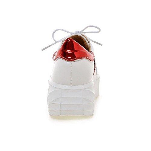 VogueZone009 Femme Pu Cuir à Talon Correct Rond Couleurs Mélangées Lacet Chaussures Légeres Rouge