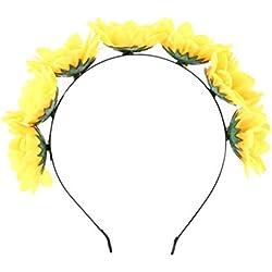TOYANDONA diadema de girasol artesanía diadema simulación corona floral margarita flor diadema para mujer fotografía de boda de vacaciones
