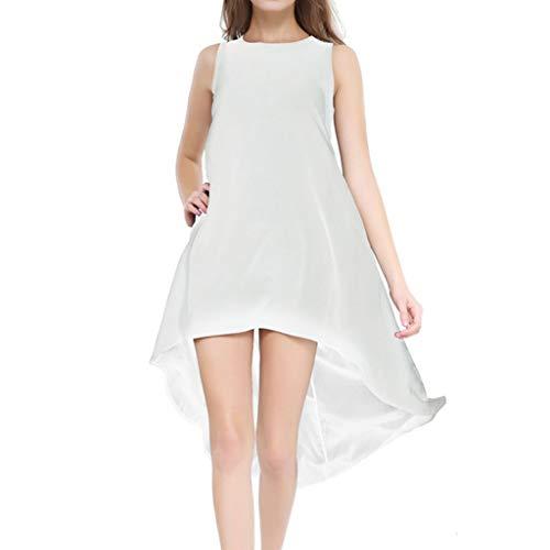 Hot!Damen unregelmäßiges Kleid Ninasill Monochrom ärmellos Chiffon T-Shirt Kleid Casual Große Größe Mini Rock - Mehrfarbig - S