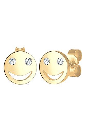 Elli Damen Echtschmuck Ohrringe Ohrstecker Smiley Face Emoji mit Swarovski Kristalle in 925 Sterling Silber vergoldet