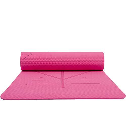 18306106 mm TPE Yogamatte mit Tasche rutschfeste Matte für Anfänger, Umwelt, Fitness und Gymnastikmatten violett (Für Dick Männer Yoga-matten)