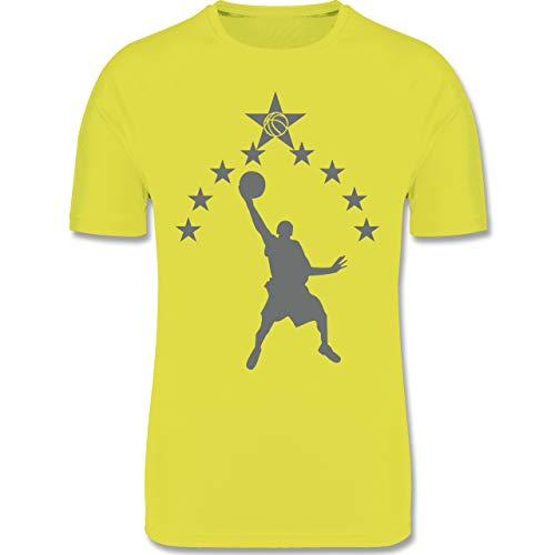 Sport Kind - Basketball Sterne - 164 (14/15 Jahre) - Neon Gelb - F350K - atmungsaktives Laufshirt/Funktionsshirt für Mädchen und Jungen