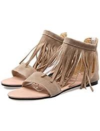 YMFIE Sandali piatti nuovi arco retrò estate donna sandali antiscivolo moda casual, 37 EU, nero