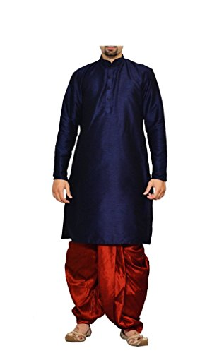 MAG Men's Silk Kurta Dhoti (Navy Blue-Red, 42)