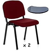 2x - Silla confidente para oficina con brazo pala apilable para escritura - Silla tapizada color BURDEOS, ideal para oficinas, academias, autoescuelas.