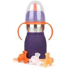 Kid Basix Safe Sippy 2 - Botella infantil con pajita, tapón y asas (330 ml), color morado