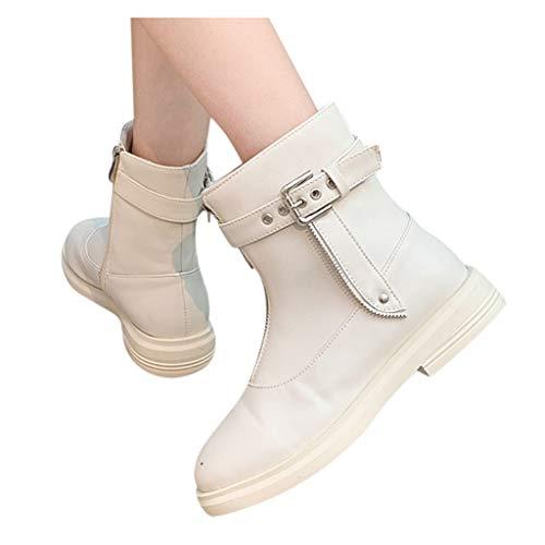 Abvenc Donna Stivaletti alla Caviglia con Tacco Alto, Stivali in Pelle Ankle Boots Cuoio con Fibbia per Cintura Tacco Basso Casual per Autunno e Inverno (Beige, EU:36)