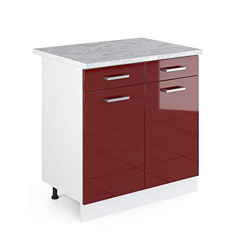Vicco Küchenschrank R-Line Hängeschrank Unterschrank Küchenzeile Küchenunterschrank Arbeitsplatte, Möbel verfügbar in anthrazit und weiß (rot mit Arbeitsplatte, Schubunterschrank 80 cm) -