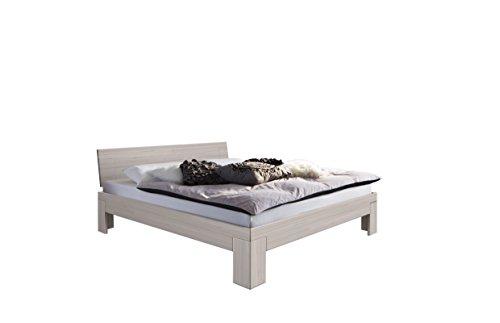 SAM Design Schlafzimmer-Bett 160x200 cm SIENNA massiv Kern-Buche-Holz weiß, geölt, lackiert, geschlossenes Kopfteil