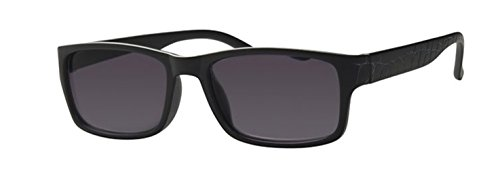 R4806 InFocus Sonnenbrille mit Lesestärke Matt Schwarz Wayfarer Style (2.00, Matt Black, Linse brown Line Smoke Solid)