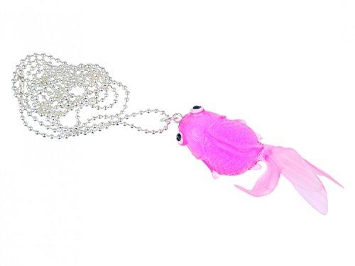 Miniblings Fisch Koi Kette Halskette 80cm Kampffisch Gummi Neonrosa Pink