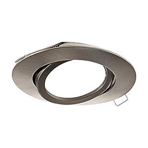EGLO Einbaustrahler Tedo, Spot aus Aluminiumguss in Nickel-Matt, Einbauleuchte mit GU10 Fassung, Einbaustrahler flach, schwenkbar, Ø 8 cm