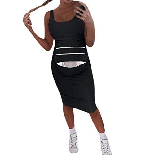 Lucky Mall Hübsche Mutter! Ärmelloses Umstandsmode Kleid, Sommer Umstandskleid Mutterschaft Kleid Komfort Schwangerschaft Kleidung (Mutterschaft Billig Lustig T-shirts)