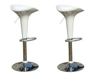 2 tabourets de bar design blanc cuisine maison. Black Bedroom Furniture Sets. Home Design Ideas