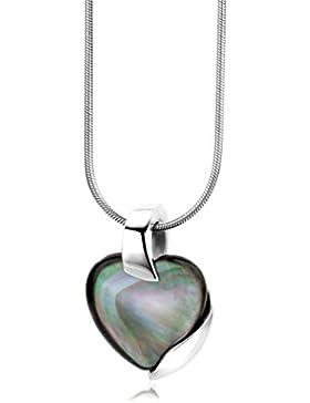 Miore Kette Damen, Schmuck, Schlangenkette 925 Sterling Silber,Halskette Herz mit Grau Perlmutt Edelstein Anhänger...