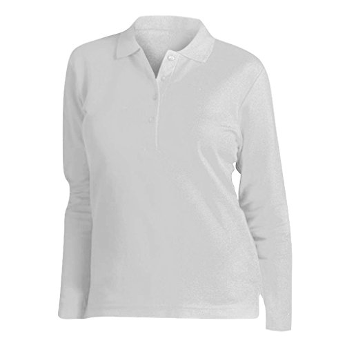 SOLS Podium Damen Pique Polo-Shirt, Langarm (Medium) (Weiß) -