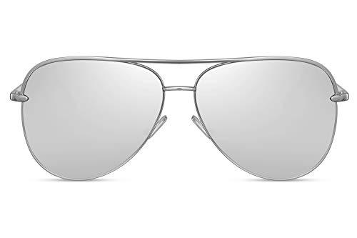 Cheapass Sonnenbrille Silber Verspiegelt UV-400 Flieger-Brille Piloten-Brille Metall Damen Frauen
