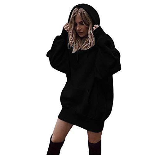 Lady einfarbig Langer Abschnitt Kapuzen Hoodie -Frauen Mode Einfarbig Kleidung Hoodies Pullover Mantel Hoody Sweatshirt-Outdoorbekleidung Oberteile-Jumper Pullover Oberteile (Schwarz,XL)