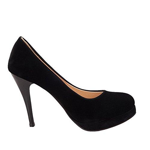 VogueZone009 Femme Suédé Couleur Unie Tire Rond Stylet Chaussures Légeres Noir