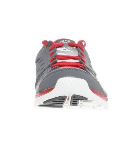 Nike Flex 2013 RN MSL mixte adulte, cuir lisse, sneaker low Dark gry/Metallic Silver/Red