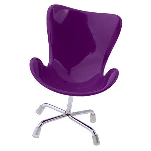 aus Miniatur Möbel Mini Stuhl Bürostuhl Schreibtischstuhl Modell - 11 x 15 cm - Lila ()
