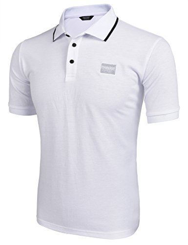 Coofandy Poloshirt Herren Kurzarm Einfarbig Sommershirt Haiikragen Polo Kragen Shirt für Herren Weiß