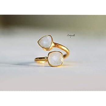 Ring Mondstein Vermeil größenverstellbar/Stapelring Edelstein/Geburtsstein Ring/Geschenk für Sie/Hochzeitsgeschenk…