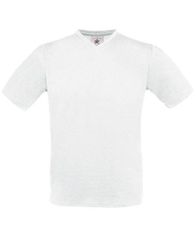 B & C Herren Exact V-Neck T-Shirt White