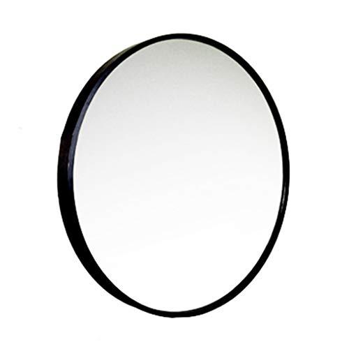 Espejo montado en la Pared Marco de Metal Negro Redondo Espejo HD Maquillaje Baño...