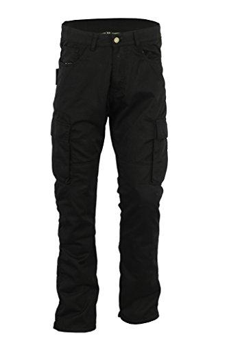 Bikers Gear schwarz Kevlar Cargo Pant Jeans abnehmbarer Armor