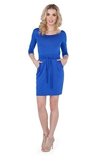 Futuro Fashion Femmes Attaché Mini Robe Avec Poches 3/4 Manche Col Bateau Tunique Taille 8-14 UK 8197 Bleu Roi