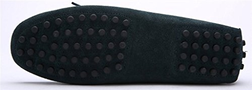 iLory Chaussures Bateau pour homme en suédine Mocassins Pantoufles de Conduite,Men's-dérapant sur corde Nœud Plates Loafers Vert