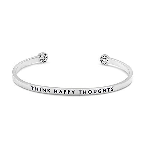 the simple pledge - Think Happy Thoughts in Silber - filigraner Armreif/Armspange mit Gravur für Damen - Motivation & Inspiration