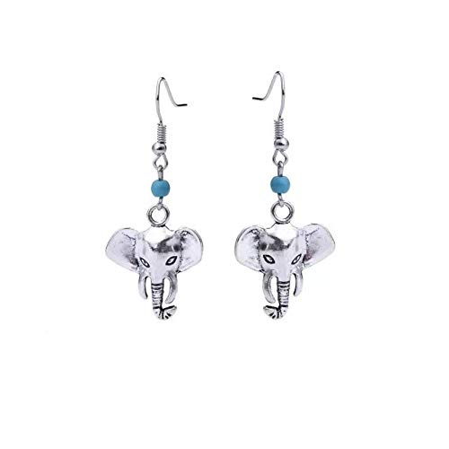 THTHT Pendientes Colgantes De Elefantes De Piedras Naturales De La Vendimia para...