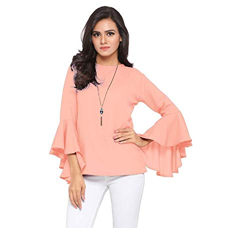 Istyle Can Women's Top (Crepe top with Flute Sleeves) (Peach, X-Large)