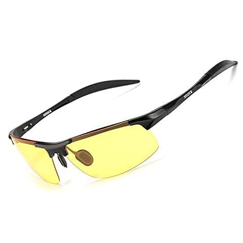 SOXICK® Men's HD Polarized Night Driving Glasses Anti Glare Safety Glasses (Black Frame-Yellow Lens-1)