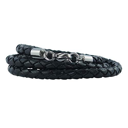König Design Lederkette Lederhalsband Lederarmband 4 mm Herren Halskette schwarz 55 cm lang mit Karabiner Verschluss Silber geflochten