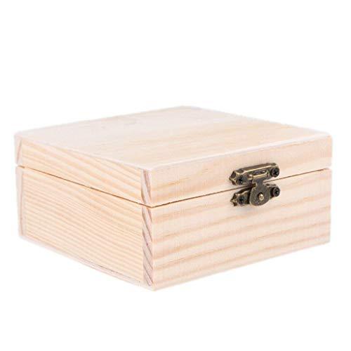 Fliyeong Holz unvollendet Holz Jewel Box Fall für Kinder DIY Handwerk Holzbearbeitung Spielzeug Art Square langlebig und praktisch - Unfinished Handwerk Holz Box