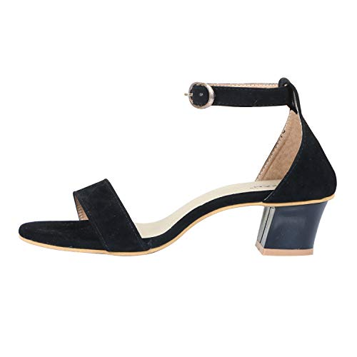 BK DREAM Women's Single Strap Block Heels Black