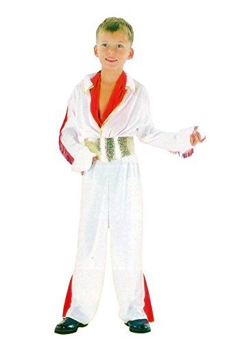 ngen Rockstar Elvis Stil Kost�m Kinder Wei�e Idol Buch Woche Party Outfit Medium 7-9 Jahre (Jungs Rock Star Kostüme)