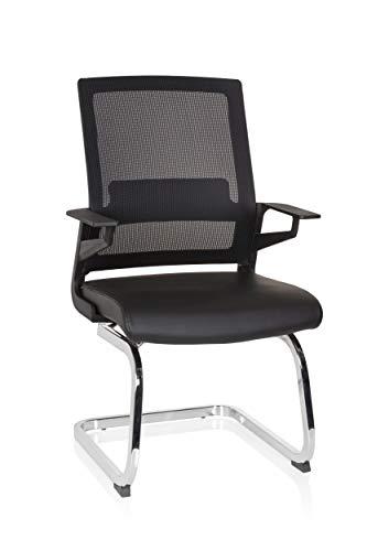 hjh OFFICE 732105 Besucherstuhl Inventor V PRO Kunstleder/Netz Schwarz Stuhl Freischwinger mit Lordosenstütze