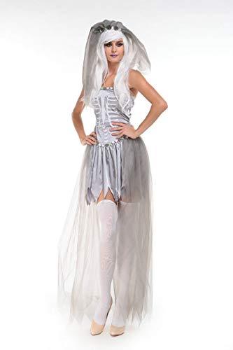 Ghost Für Kostüm Erwachsene Bride Damen - FHSIANN Erwachsene Frauen Halloween Corpse Ghost Bride Kostüm Damen White Dress Skeleton Scary Zo