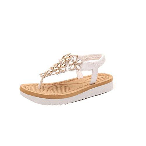 Ouneed® Damen Sandalen , Damen Slip On Beaded Flats Clip Toe Flats Bohemian Herringbone glitzer Bling Diamond Sandals Beach Shoes (38, Weiß) (Schuhe Flats Beaded Slipper)