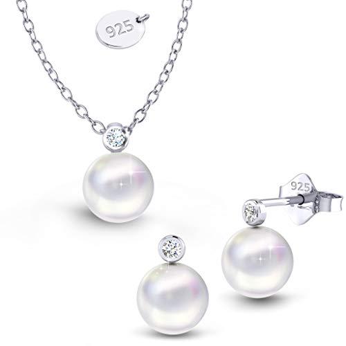 Schmuck Set Damen Schmuckset Silber 925 Damen Swarvoski Perlen Ohrringe + Kette Mädchen Geschenk Geburtstag