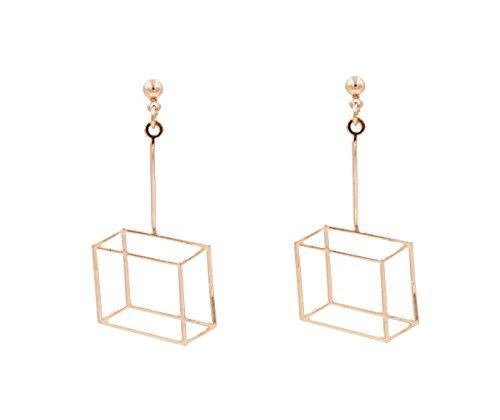 vergoldet Optische Illusion Geometrische 3D Effekt Box Rahmen Cube Ohrringe–Pretty, Spaß und lustigen Schmuck–in Organza-Beutel.