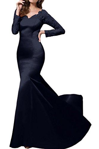 Prom Style Damen Satin Mermaid Lang A-Linie Abendkleider Cocktaikleider Hochzeitgastkleider Royalschleppe Vavyblau